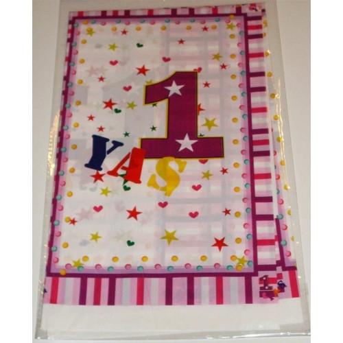120x180 cm Pembe 1 Yaş Masa Örtüsü Doğum Günü Parti Ürünleri