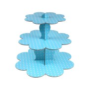 Puantiyeli Mavi 3 Katlı Cupcake Stand 1 Yaş,Diş ,Doğum Günü