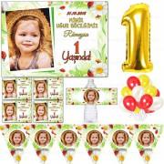 1 Yaş Süsleme Seti Fotoğraflı Doğum Günü Süsleri Uğur Böceği Seti