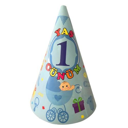 10 Adet 1 Yaş Mavi Erkek Karton Huni Doğum Günü Parti Şapkası
