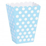 10 Adet Açık Mavi(Bebek Mavisi) Beyaz Puantiyeli Mısır İkram kutusu