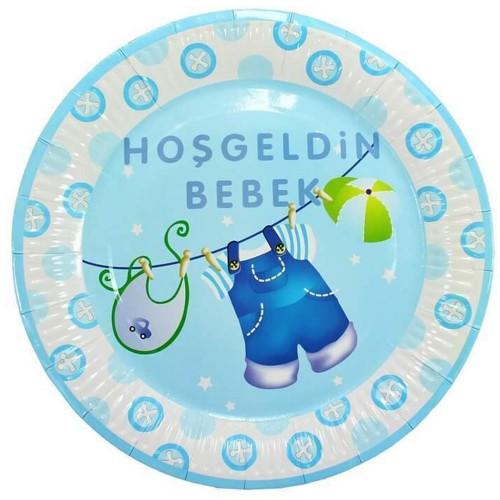 10 Adet Baby Shower Tabağı, Mavi Hoşgeldin Bebek Tabak