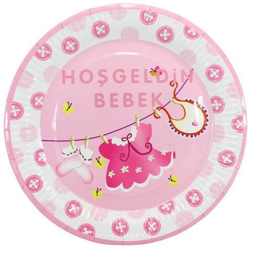 10 Adet Baby Shower Tabağı, Pembe Hoşgeldin Bebek Tabak