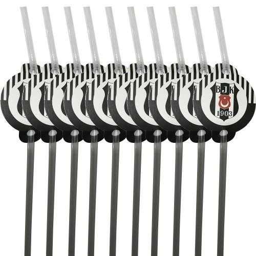 10 Adet Beşiktaş Amblem Baskılı Siyah Beyaz Pipet, Doğum Günü