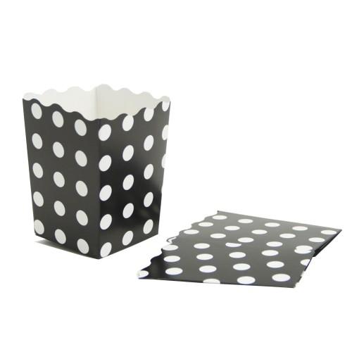 10 Adet Beyaz Puantiyeli Siyah Renk Mısır İkram Kutusu