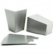 10 Adet Gümüş Gri Karton İkram Kutusu, Patlamış Mısır Kutusu