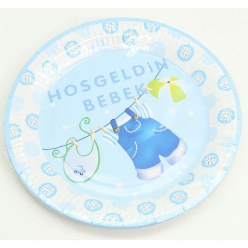 10 Adet Hoşgeldin Bebek Tabak Mavi Erkek Doğum Odası