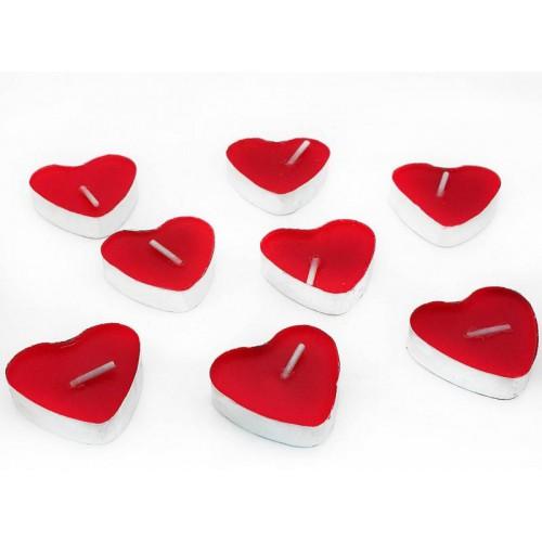 10 adet Kırmızı Kalp Tealight Mum Sevgiliye Hediye