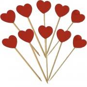 10 Adet Kırmızı Kalpli Sunum Kürdanı