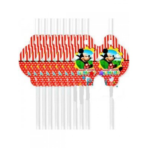 10 Adet Kırmızı Mickey Mouse Pipet Erkek Doğum Günü
