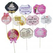 10 Ad Söz, Nişan, Kız İsteme Konuşma Balonu Çubukları Sopalı Söz