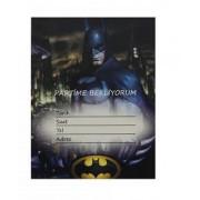 10 Adet Siyah Batman Davetiye Doğum Günü Erkek Parti Malzemesi