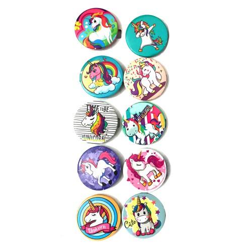 10 Adet Unicorn Rozet, Hediyelik Tek Boynuzlu At Yaka Rozetleri
