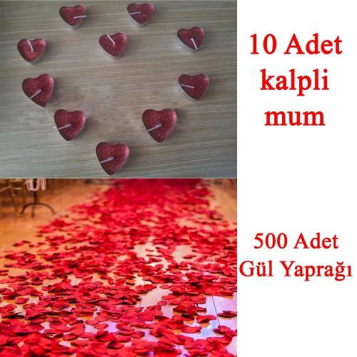 10 Mum + 500 Kumaş Gül Yaprağı Kalpli Mum ve Yapay Gül Yaprakları
