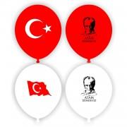 100 lü Adet Atatürk Baskılı Bayrak Balon, Atatürklü Balon Paketi