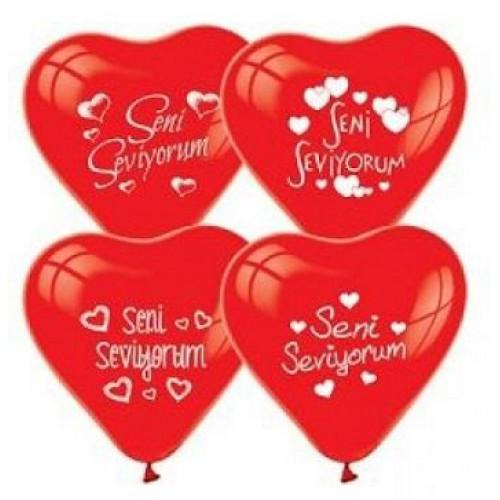 100 Ad Kırmızı Kalpli Seni Seviyorum Baskılı Balon Helyumla Uçan
