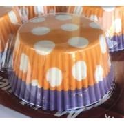 100 Ad Beyaz Puantiyeli Turuncu Mor Cupcake, Muffin Kek Kalıbı
