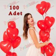 100 Adet Baskısız Kırmızı Kalp Balonu, Kalp Balonları Satın Al