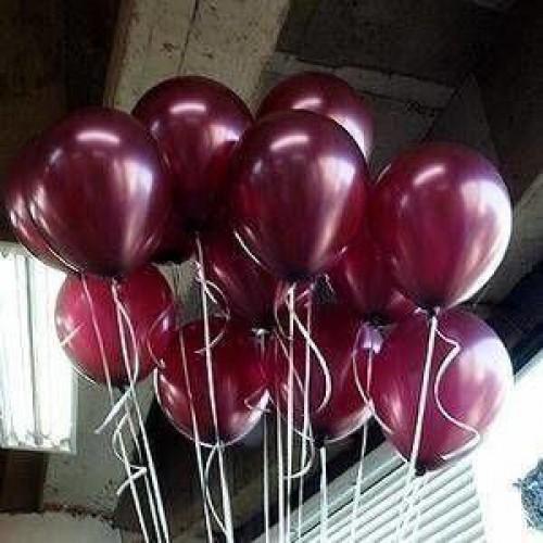 100 lü Adet Metalik Parlak Sedefli Lateks Bordo Renkli Balon