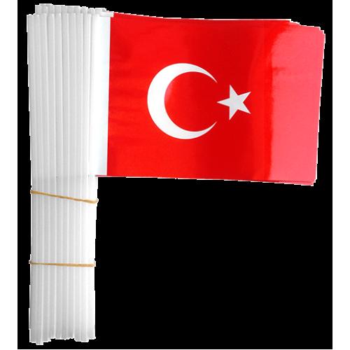 100 Adet Çubuklu Türk Bayrağı 23 Nisan 19 Mayıs 30 Ağustos Okul
