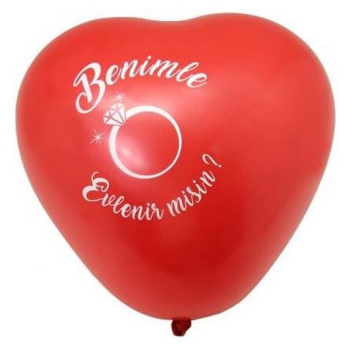 100 Adet Kırmızı Kalpli Balon Benimle Evlenir misin Baskılı