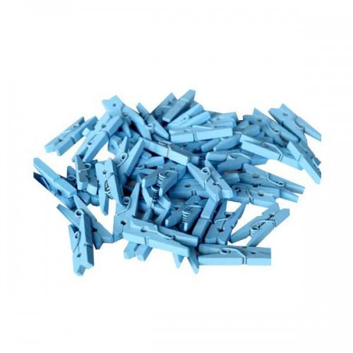 100 Adet Mavi Küçük 3 cm Mandal Ataç, Fotoğraf Askısı Mandalı