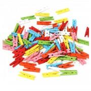 100 Adet Renkli Küçük 2,5cm Mandal, Ataç Fotoğraf Askısı Mandalı