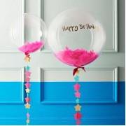 100 Adet Koyu Pembe-Fuşya Tüy (Şeffaf Balon içi) Otriş Süslemesi