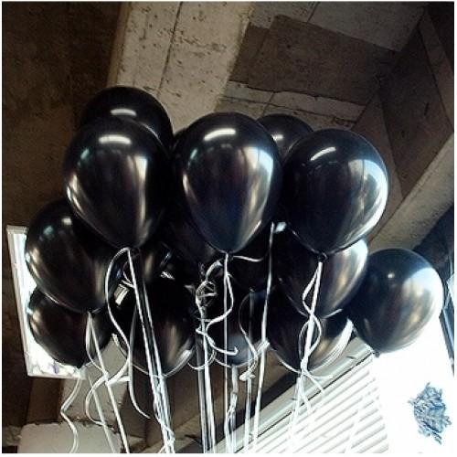 100 lü Adet Metalik Parlak Sedefli Lateks Siyah Renkli Balon