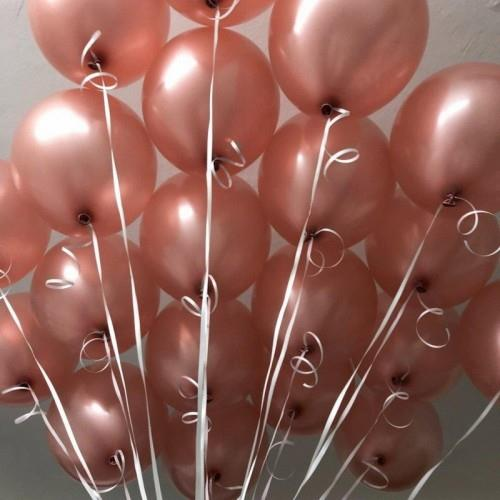 100 lü Adet Metalik Parlak Sedefli Lateks Gold Rose Renkli Balon