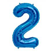 100 cm Mavi 2 Rakam Folyo Balonu, Sayı Büyük Boy Helyumla Uçan