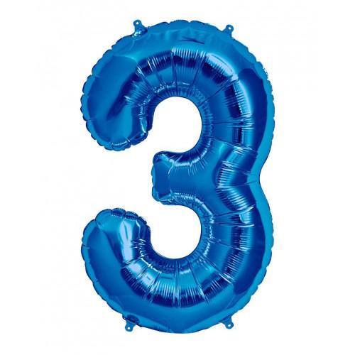 100 cm Mavi 3 Rakam Folyo Balonu, Sayı Büyük Boy Helyumla Uçan