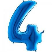100 cm Mavi 4 Rakam Folyo Balonu, Sayı Büyük Boy Helyumla Uçan