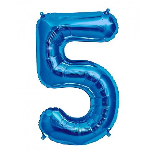 100 cm Mavi 5 Rakam Folyo Balonu, Sayı Büyük Boy Helyumla Uçan