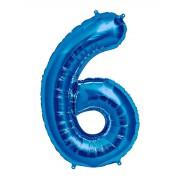 100 cm Mavi 6 Rakam Folyo Balonu, Sayı Büyük Boy Helyumla Uçan