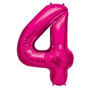 100 cm Pembe 4 Rakam Folyo Balonu, Sayı Büyük Boy Helyumla Uçan