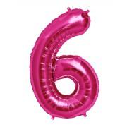 100 cm Pembe 6 Rakam Folyo Balonu, Sayı Büyük Boy Helyumla Uçan