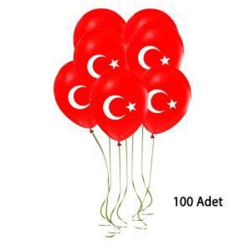100 lü Bayrak Balon Türk Bayraklı Balon Ay Yıldız Kırmızı Balon