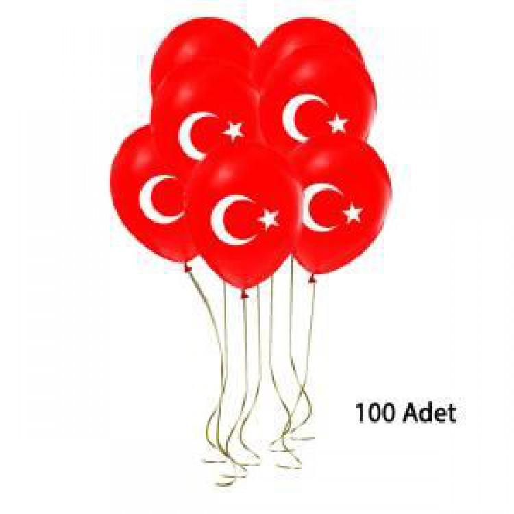 100 Lu Bayrak Balon Turk Bayrakli Balon Ay Yildiz Kirmizi Balon