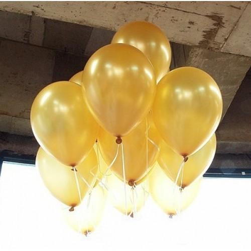 100 lü Adet Metalik Parlak Sedefli Gold Lateks Renkli Balon