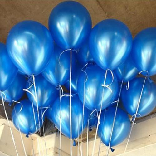 100 lü Adet Metalik Parlak Sedefli Koyu Mavi Renkli Balon