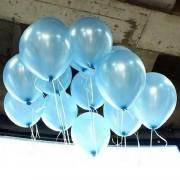 100 lü Adet Metalik Parlak Sedefli Lateks Açık Mavi Renkli Balon