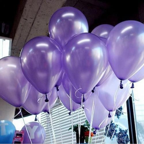 100 lü Adet Metalik Parlak Sedefli Lateks Açık Mor Renkli Balon