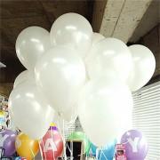 100 lü Adet Metalik Parlak Sedefli Lateks Beyaz Renkli Balon