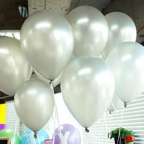 100 lü Adet Metalik Parlak Sedefli Lateks Gümüş Gri Renkli Balon