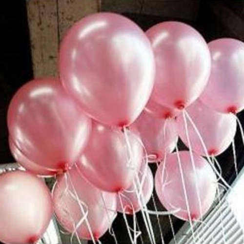 100 lü Adet Metalik Parlak Sedefli Lateks Toz Pembe Renkli Balon