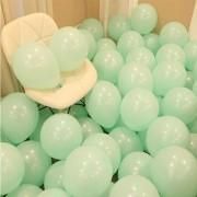 100 lü Adet Yeşil Soft Makaron Balon, Mat Pastel Balon Parti Süsü