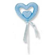 12 Ad Açık Mavi Strafor Kalp Çubuk, Marşmelov Sunum Kovası Çubuğu