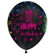 14 Ad Happy Birthday Floresan Siyah Balon, Fosforlu Helyumla Uçan