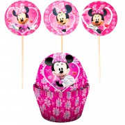 12 Ad Minnie Mouse Cupcake Muffin Kağıdı, 12 Ad Kek Sunum Kürdanı